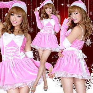 激カワ 0908 アームカバつきリボンふんわりサンタコスチューム ピンク3点セット クリスマス