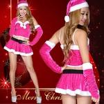 超セクシー 0906 森の妖精サンタコスチューム5点セットクリスマス チェリーピンク