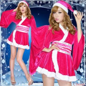 超ゴージャス 0903 着物サンタコスチューム3点セット かわいい セクシー クリスマス チェリーピンク - 拡大画像