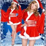 超ゴージャス 0903 着物サンタコスチューム3点セット かわいい セクシー クリスマス 赤