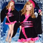 超ゴージャス 0903 着物サンタコスチューム3点セット かわいい セクシー クリスマス 黒-チェリーピンク
