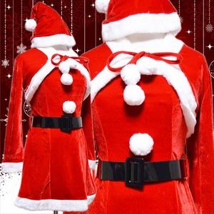 超かわいい 0902 ボレロサンタコスチューム4点セット クリスマス 赤