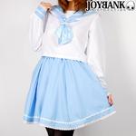 爽やか2color お花レースのパステルセーラー服 ブルー Mサイズ コスプレ衣装 制服 の画像