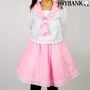 爽やか2color お花レースのパステルセーラー服 ピンク Lサイズ コスプレ衣装 制服