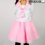 爽やか2color お花レースのパステルセーラー服 ピンク Lサイズ コスプレ衣装 制服 の画像