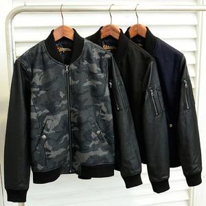 メンズ ウール混メルトン×PUレザー MA-1 ジャケット /ブラックMサイズ