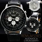 メンズ腕時計 ビッグフェイス・自動巻きクロノグラフ【BOX・保証書付】/ブラック文字盤・PUレザーベルト