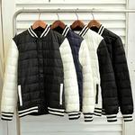 スタジアムダウンジャケット ジャンパー ブルゾン/  中綿 秋 冬/ブラック×ブラックLサイズ