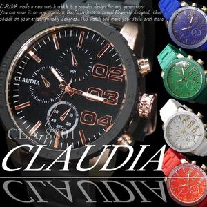 メンズ腕時計 ラバーバンド ビッグフェイス デザインクロノグラフ/ブラック - 拡大画像