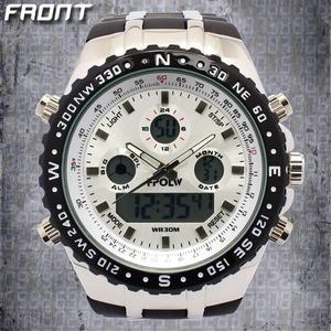 メンズ腕時計【アナログ&デジタル】30気圧防水・マルチファンクション・デュアルタイム腕時計