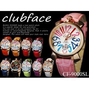 レディース腕時計 革バンド ドレスウォッチ マルチカラー ビッグフェイス◇-clubface-レディース腕時計/パープルベルト&ゴールドフレーム - 拡大画像