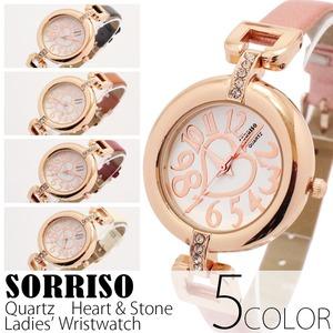 レディース腕時計【SORRISO ソリッソ】ハート&ストーン・レディース腕時計[全5色]/レッド - 拡大画像