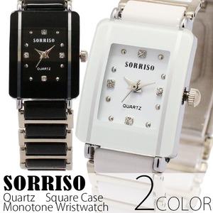 レディース腕時計メンズ【SORRISO ソリッソ】レディース・モノトーン&ストーン・スクエアケース腕時計/ホワイト - 拡大画像