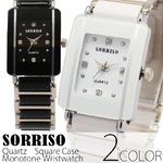 レディース腕時計メンズ【SORRISO ソリッソ】レディース・モノトーン&ストーン・スクエアケース腕時計/ホワイト