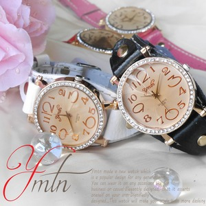 レディース腕時計 ジルコニア カットグラス 本革テイストバンド レディース/ピンク - 拡大画像