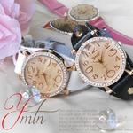 レディース腕時計 ジルコニア カットグラス 本革テイストバンド レディース/ピンク