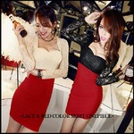 大きいサイズ☆レース&レッドカラースカートワンピース/ブラック5L