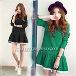 大きいサイズ☆2カラー裾パイピングシンプルワンピース/グリーン3L