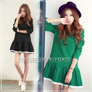 大きいサイズ☆2カラー裾パイピングシンプルワンピース/グリーン5L - 拡大画像