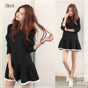 大きいサイズ☆2カラー裾パイピングシンプルワンピース/ブラック5L