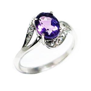 アメジスト リング 2月誕生石 1.1ct 紫水晶 スターリングシルバー 925 Amethyst リングサイズ13号