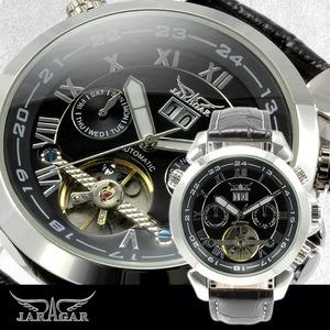 メンズ腕時計【全針稼動の本格仕様】★インナーベゼルビッグフェイス自動巻きマルチファンクション腕時計【保証書付】 - 拡大画像