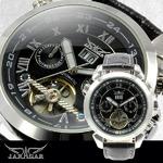 メンズ腕時計【全針稼動の本格仕様】★インナーベゼルビッグフェイス自動巻きマルチファンクション腕時計【保証書付】
