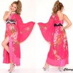 超豪華ビジュー背中リボンシフォンロング着物ドレス チェリーピンク セクシー キャバドレス 花魁 おいらん