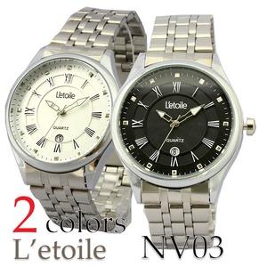 メンズ腕時計【L'etoile】フォーマル メンズ 腕時計 NV3/ブラック - 拡大画像