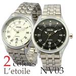 メンズ腕時計【L'etoile】フォーマル メンズ 腕時計 NV3/ブラック