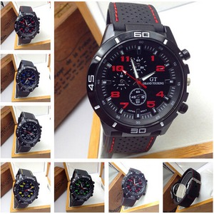 メンズ腕時計 シリコン腕時計♪/赤文字