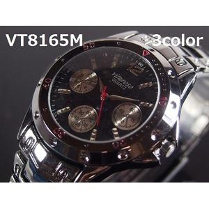 メンズ腕時計 VITAROSOメンズ腕時計 メタルウォッチ ガンメタ 日本製ムーブメント クロノデザイン/ブラック グリーン