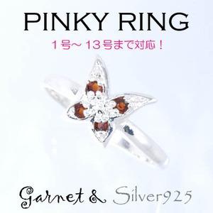 Silver925 シルバー ピンキーリング 蝶々 ガーネット 1月誕生石7号