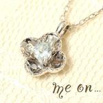 K10ホワイトゴールド・アクアマリン×ダイヤモンド・リュクスデザインネックレス 3月誕生石