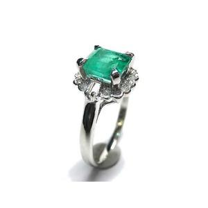 Pt900 エメラルド:1.00ct ダイヤモンド:0.20ct 指輪  5月誕生石/11号