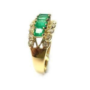 K 18 エメラルド 1.00ct ダイヤモンド 0.30ct リング・指輪 5月誕生石/11号