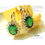 豪華な緑のエメラルド925純銀ピアス・デザインジュエリー 5月誕生石