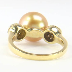 K18 イエローゴールド リング 白蝶 真珠 & ダイヤモンド 6月誕生石/12号