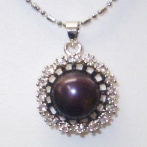 大粒(10mmアップ)淡水真珠(淡水パール)×キュービックジルコニア(CZ)ペンダント 6月誕生石/ブラック