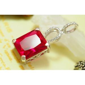 赤い宝石 ルビーコランダム13ct 純銀ペンダント 7月誕生石