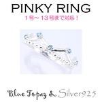 Silver925 シルバー ピンキーリング ブルートパーズ 11月誕生石/9号