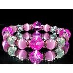 女性サイズ◇ピンククラック水晶×64面カット水晶×ピンクキャッツアイ数珠 巾着袋付