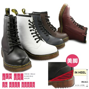 ブーツ メンズ インヒール内蔵レースアップブーツ/チェリーレッド23cm