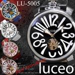 メンズ腕時計 自動巻 ビッグフェイス 王冠 メンズ ウォッチ/ホワイト
