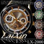 メンズ腕時計 LaiXin ビッグフェイス 革バンド メンズ ウォッチ/レッド
