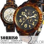 メンズ腕時計 SORRISOソリッソ シチズンミヨタムーブ べっ甲カラーのフェイクダイヤル時計/BLK