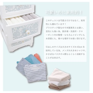 Liloudecoco ドレスチェンジチェスト 4段 パールホワイト DPC-04-PW 衣類収納 猫脚 リルデココ 姫系 日本製 姫家具 おしゃれ 収納 の画像