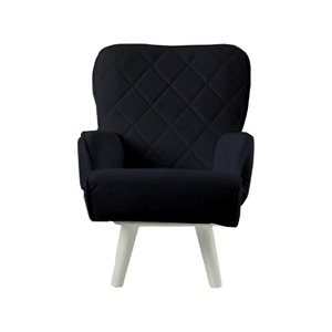 Liloudecoco リルデココ 回転ローチェアー(ポケット付)ブラック 姫系 キルティング 椅子 一人掛け ソファー 高座椅子