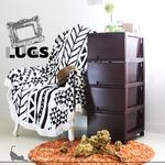 LUGS ラグス木目調4段 ダークブラウン チェスト 衣装ケース プラスチック BOX 収納ケース 木目 ウッドの画像