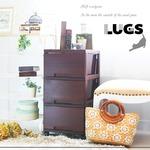 LUGS ラグス木目調3段 ダークブラウン チェスト 衣装ケース プラスチック BOX 収納ケース 木目 ウッドの画像